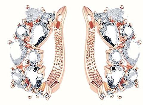 SaySure - Flower Earrings Rose Gold Plate Multicolor