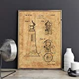 Poster,Lighthouse Patent Vintage Blueprint Posters and Prints,Wall Art Canvas Painting Sailor Nautical Art,Gift Picture Home Wall Decor C 16X20Inch(40X50Cm)