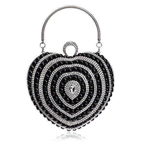 ZHENYANG Abend Clutch Bag Abendtasche Lady Handtasche Pearl Fashion Party Dress Abendkleid Brieftasche Make-up Bag Abendtasche Handtasche (Schwarz, Gold, Silber) (Color : Black, Size : 15x16x8cm)