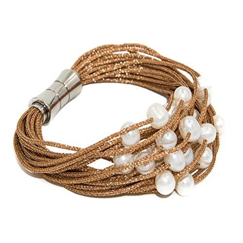 Bracciale da donna di perle d'acqua dolce coltivate da 6 a 6,5 mm secret & you   montato su cordino in tessuto di alta qualità e chiusura magnetica in acciaio inossidabile.