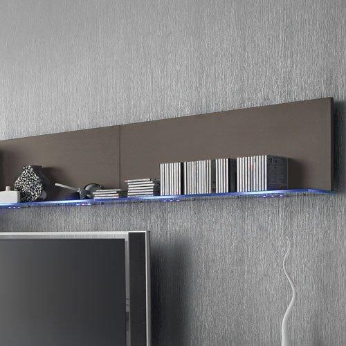 Anbauwand 7-tlg. Hochglanz grau, 2 x TV-Element, 3 x Hängeschrank, 3 x Zwischenelement, 2 x Glasbodenpaneel, Mindestb.: ca. 300 cm, Tiefe: ca. 40 cm - 3