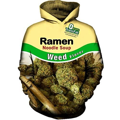 Coole Männer Frauen Sweatshirt Hoodies 3D Printed Weed Ramen NUDELSUPPE mit Kapuze Street Langarm L -