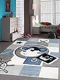 Carpetia Teppich Kinderzimmer Babyzimmer Jungen Affe Pirat blau crème grau schwarz Größe 160x230 cm
