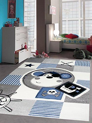 Carpetia Teppich Kinderzimmer Babyzimmer Jungen Affe Pirat blau crème grau schwarz Größe 120x170 cm