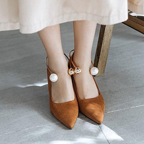 Mee Shoes Damen Stiletto Nubukleder spitz Pumps Gelb