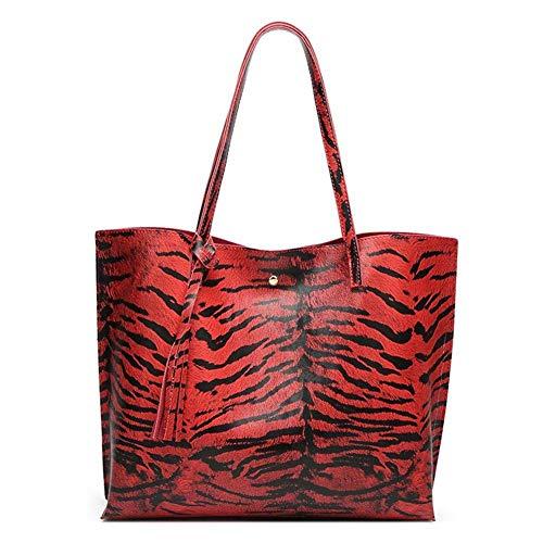 Bolsos de Mochila para Mujer Bolsos de Hombro de Pu con Estampado de Leopardo con Borla de Moda Patrón Brillante Impermeable Antidesgaste Bolsos Grandes de Playa para Llevar, BEWITCHYU, rojo
