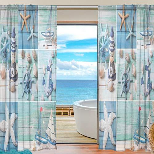 funnyy Lustiger Fenstervorhang mit Seestern-Muschel, nautischer Anker Tüll-Voile-Vorhang, Vorhänge für Schlafzimmer, Wohnzimmer, Wohnzimmer, Wohnzimmer, 139,7 x 198 cm, 2 Paneele, 55 x 84 inch