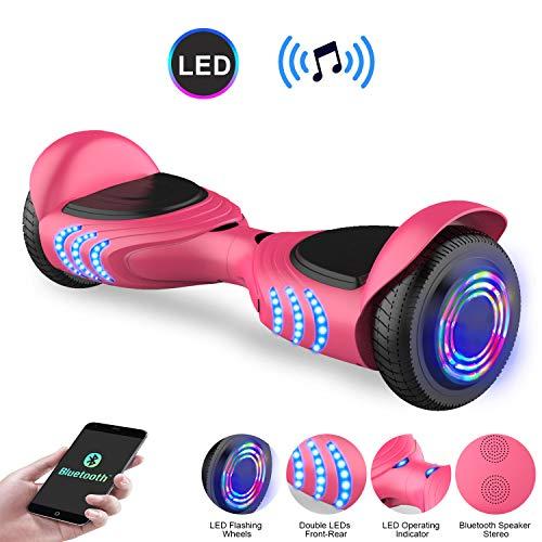 COLORWAY Hoverboard Flash-Rad Balance Elektro Scooter Roller EU Sicherheitsstandard, mit Bluetooth Lautsprecher und LED-Lichter (Q3 rosa)