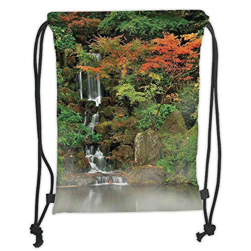 LULUZXOA Gym Bag Printed Drawstring Sack Backpacks Bags,Lake House Decor,Wild Small Cascade Pouring Over Steep Stones Peaceful Fall Motion Scene,Orange Brown Soft Satinr -