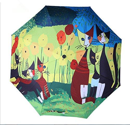 coolcool 3d pittura pieghevole portatile stile leggero 8bastoncini contro vento tessuto impermeabile UPF > 50Gatto Fiori Rosso Leggero ombrello di viaggio