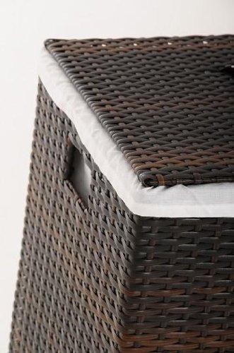 "VIVANNO Wäschekorb Korb Wäschebox ""Mia"" Polyrattan Braun – 70 cm x 46 cm x 46 cm - 4"