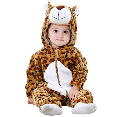 Pagliaccetto con cappuccio cerniera con cerniera flanella tute tute stile animali neonato unisex primavera autunno inverno abiti per bambini ragazzi ragazze (13-18 mesi, leopardo)