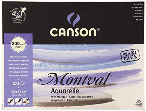 Canson 200807353 AQ Montval fein Aquarelle, 200 g/qm, 100 Blatt pro Block 'an der langen Seite...