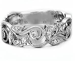 Ladies Ring-925 Sterling Silver Ladies Luxury Unique Wedding Band Engagement Ring - With Luxury Gift Box. (I)