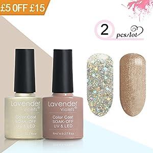 Gel Nail Polish Set Lavender Violets ® 2 Colours UV LED Gel 8 ml Golden Sparkle White