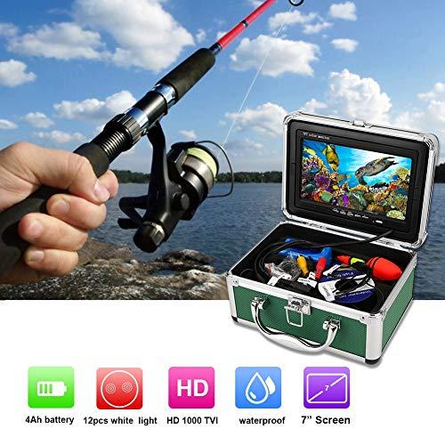 Tosuny Unterwasserkamera, Angelkamera HD 1000TVL Fischformkamera, 7-Zoll-Monitor Fischfinder Unterwasser-Videokamera mit 20 m Kabel(EU-Stecker)