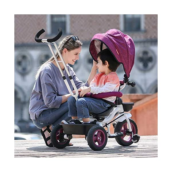 BGHKFF 4 In 1 Childrens Folding Tricycle 6 Months To 5 Years Rear Wheel With Brake Folding Trike 360° Swivelling Saddle Folding Sun Canopy Childrens Tricycles Maximum Weight 25 Kg,Purple BGHKFF ★Material: Steel frame, suitable for children from 6 months to 5 years old, the maximum weight is 25 kg ★ 4 in 1 multi-function: can be converted into baby strollers and tricycles. Remove the hand putter and awning, and the guardrail as a tricycle. ★Safety design: golden triangle structure, safe and stable; front wheel clutch, will not hit the baby's foot; guardrail; rear wheel double brake 9