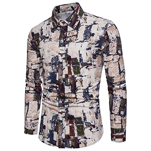 Koch Fitted T-shirt (Herren Herbst Shirt Langarm Hemd Printed Fitted Winter Tops,Khaki,M)