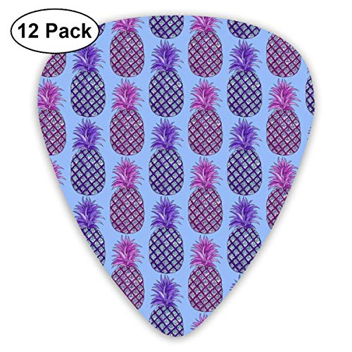 Watercolor_pineapple_3_4x4_1928 Classic Celluloid Picks, 12-Pack, For Electric Guitar, Acoustic Guitar, Mandolin, And Bass -