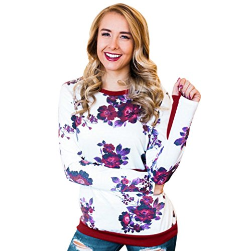 HUHU833 Tee Shirt Femme Casual Col O Impression à Manches Longues Mode Chemise Tops Chic Sweater Tee-Shirt Blouse Rouge