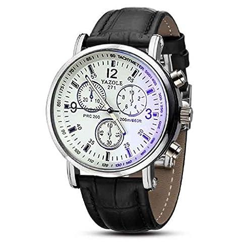 Internet Luxus Fashion Faux Leather Mens Blue Ray Glas Quarz Analog Uhren