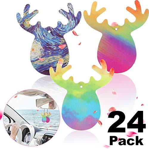 24 Pezzi a Forma di Cervo Ciondolo Auto Deodorante Decorazione Profumo Solido Pezzo Profumato (3 Modelli, Odore di Probabilità)