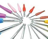 Tinas Collection Häkelnadel Set aus Hochwertigen Silikon mit Rutschfesten Griffen, Nadeln aus Aluminium, Häkelspaß für groß und Klein (18-er Set)