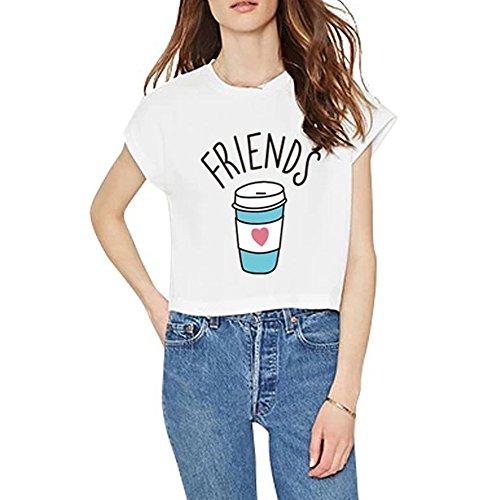 Jby t-shirt da due amici per due con stampa shirt burger fries e dunut cola stampa estivo da donna top manica corta tops with cartoon bianco e nero