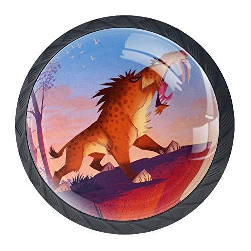 Tier Möbelgriff Kabinett Knöpfe 4 Stücke Schublade Griff Kratzfest Kristallglas 3D Display Möbelknöpfe Dekoration Zieht Für Kleiderschrank 3.5×2.8CM (Tier-knöpfe Zieht Und)