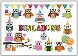 Eulen Einladungskarten zum Kindergeburtstag Einladung Geburtstag Kinder Set Eule Jungen Mädchen 12 Stück Luftballons Party lustig witzig