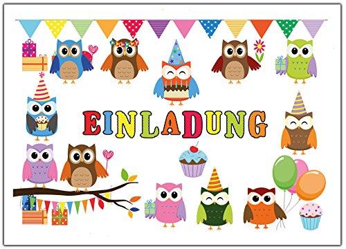 Preisvergleich Produktbild Eulen Einladungskarten zum Kindergeburtstag Einladung Geburtstag Kinder Set Eule Jungen Mädchen 12 Stück Luftballons Party lustig witzig