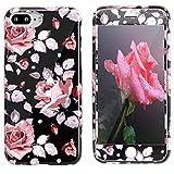 Coque iPhone 8 Plus, Coque iPhone 7 Plus Fleur+Verre Trempé, ZXK CO iPhone 7 Plus...