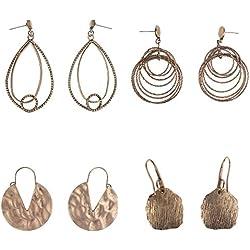 Coolcoco Borla de Moda de Lujo Colgante Pendiente Conjunto para Dama Mujer Niñas Bronce (4 pares / set)