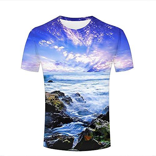 SHENMAHU Herren Crewneck 3D Print T-Shirt sotrmy Ocean Wonderland Waves Creative Graphic Short Sleeve Tee Top Shirts L