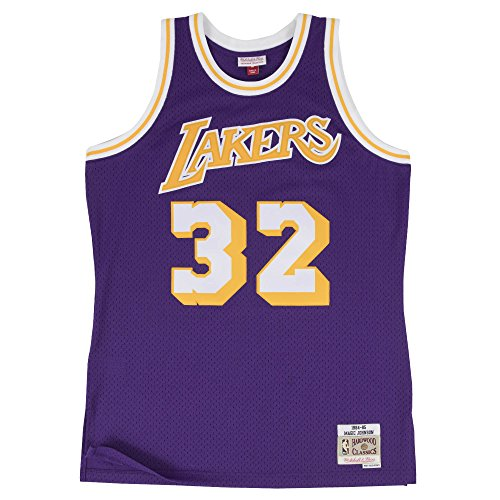 Magic Johnson Los Angeles Lakers Mitchell & Ness NBA Throwback HWC Purple Jersey Trikot -
