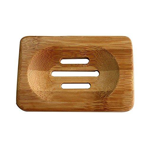 Milopon Seifenhalter Seifenschale Natürliche Bambus Handgemachte Seife Box mit Ablauf Dusche Badezimmer 12 * 8 * 1.3cm (2PCS)