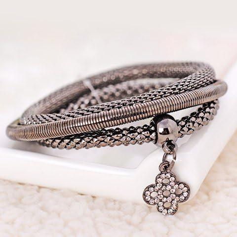 Delicate foglio del Rhinestone Bracciale Ciondolo a strati, strati braccialetto per Women