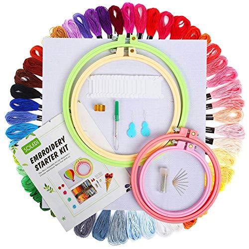 SOLEDI Stickgarn Starter Kit Embroidery Floss Stickerei Set - 4 Stück ABS-Stickrahmen, 50 Farbe, Sechs fädechen Stickerei, 2 Stück Klassiker Aida-Stoff mit Muster und Kreuzstich-Werkzeugsatz