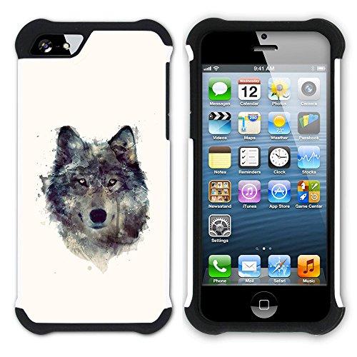 Graphic4You Wolf Tier Design Hart + Weiche Kratzfeste Hülle Case Schale Tasche Schutzhülle für Apple iPhone SE / 5 / 5S Design #2