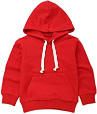 Saingace Kids Toodler Little/Big Boy Girl Full Sleeve Pullover Hooded Tops Drawstring Solid Hoodie with Pocket Outfits Tops Clothes