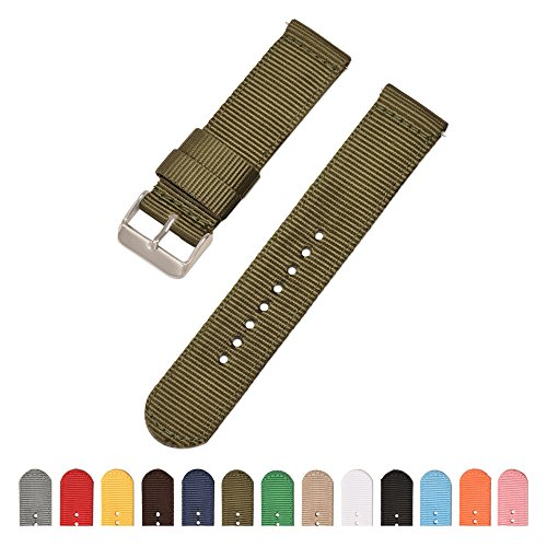 18mm 20mm 22mm 24mm Armee grün exquisites Nylon geflochtene Armband Armbänder Uhrenarmband für Männer