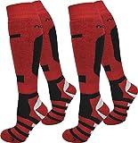 normani 2 Paar Thermo Ski-Socke, atmungsaktiv und schützend Farbe Ripp/Rot/Schwarz Größe 39/42