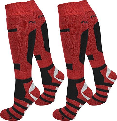 normani 2 Paar Skisocken/Ski-Kniestrümpfe mit Spezialpolsterung und Schafwollanteil Farbe Ripp/Rot/Schwarz Größe 39/42