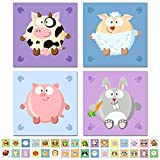Poster 4-er Set'Kugeltier' Auswahl aus 32 Tieren für Kinderzimmer