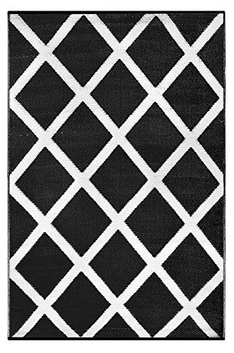 Green Decore - Alfombra de interior/exterior, plástico ligero, reversible, estampado diamante, color blanco y negro, 90x 150 cm