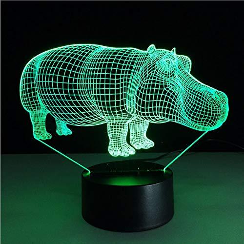 ganjue Kreative Bunte Gradienten Nachtlichter 3D Rhino Modellierung Led Hauptbeleuchtung Atmosphäre Tischlampe Beleuchtung Dekor Nacht