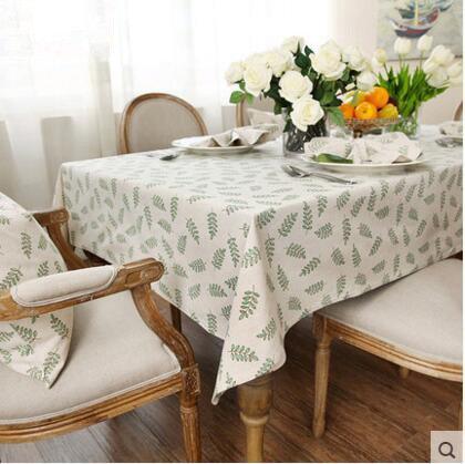 MEICHEN-Fiori di lino tovaglia di panno di tè tovaglie tovaglioli asciugamani di cotone, tela di lino tavola rotonda,verde,140*200
