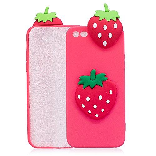 TPU Hülle für iPhone SE,Silikon Hülle für iPhone 5S,Funyye Komisch 3D Erdbeere Entwurf Ultra Dünnen Scratch Resistant Bumper Soft Rückseite Abdeckung Cover Tasche für iPhone SE/iPhone 5/5S + 1 x Frei  Muster #8