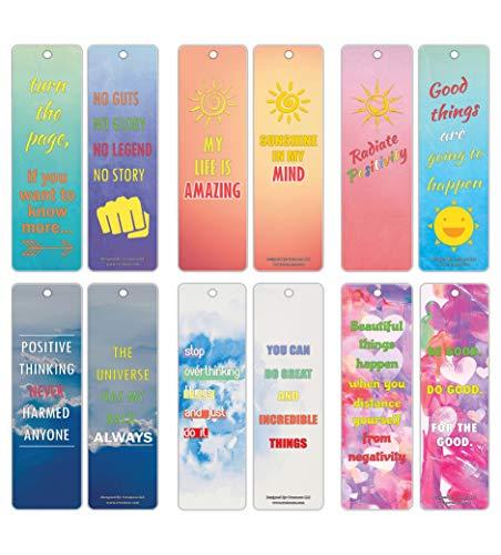Creanoso Lesezeichen-Karten mit positivem Vibe-Zitat, inspirierende Sprüche, 30 Stück - Premium Geschenk-Lesezeichen für Bücherwurm - Strumpffüller für Männer und Frauen, Teenager, Erwachsene