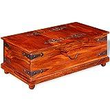 Luckyfu Sitzbank aus Massivholz von Shisham 90 x 50 x 35 cm Material: Massivholz Shisham (Dalbergia Sissoo) mit honigfarbenem Finish und Truhe Holztruhe Truhe Truhe Truhe